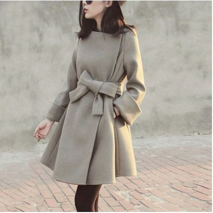 Slim Waist Belt Wool Coat