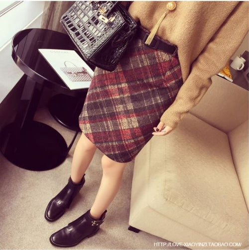 Beat Color Checkered Skirt