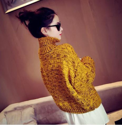 High Collar Thick Rods Blossom Sweater