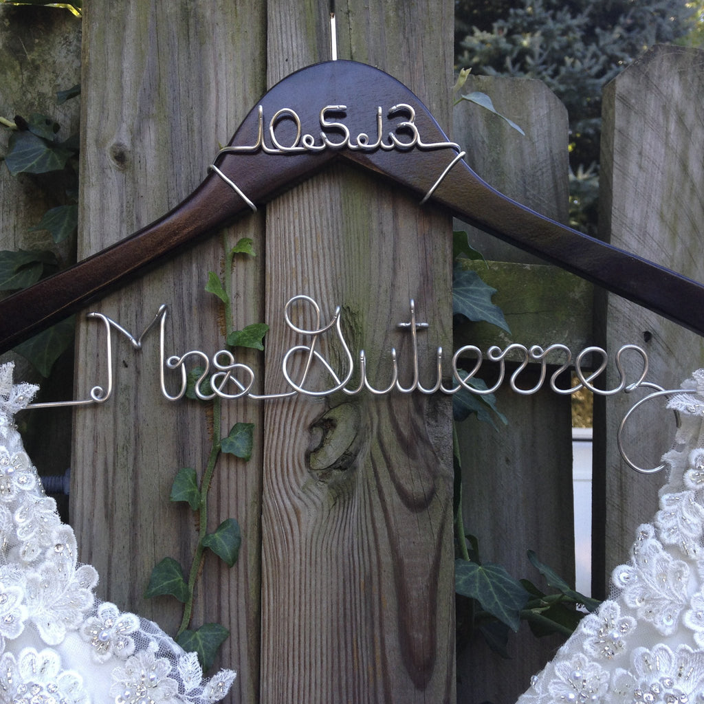 wedding dress hanger with wire wedding date, personalized bridal shower gift