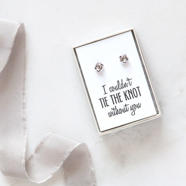 knot bridesmaid earrings, bridesmaid proposals, bridesmaid gifts, be my bridesmaid
