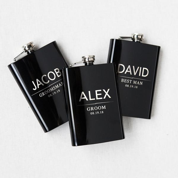 Personalized Grooms Party Flask