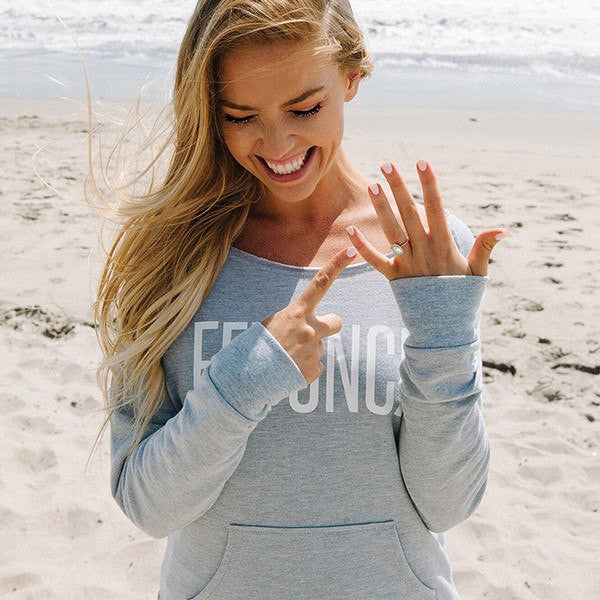 feyonce sweatshirt, bridal hoodie, engagement photo props