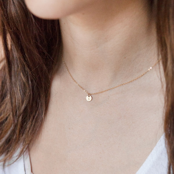 Engraved Tiny Initial Necklace