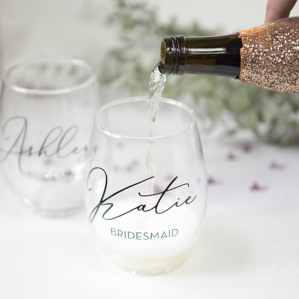 Personalized Stemless Bridal Party Wine Glass