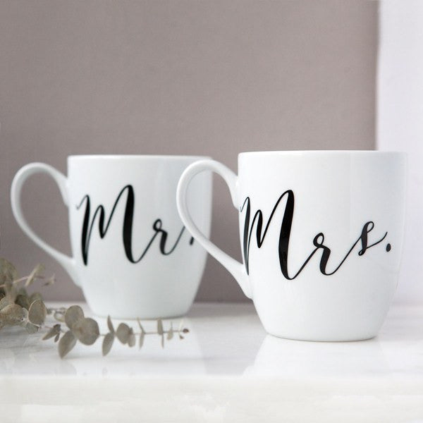 mr and mrs mugs, his hers coffee mugs, couples wedding gifts, bridal shower gifts