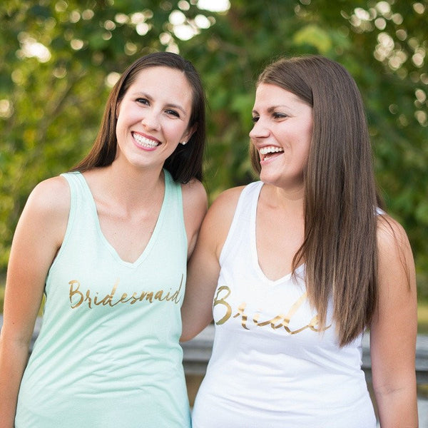 gold bridesmaid tank tops, bridesmaid gifts, flowy bridesmaid shirts, bachelorette party shirts