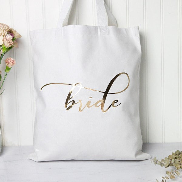 gold bride tote bag, engagement gifts, bridal shower gifts