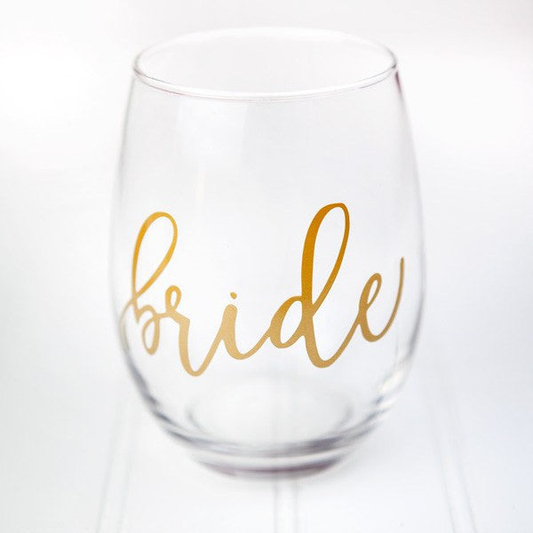 bride stemless wine glass, bridal shower gifts