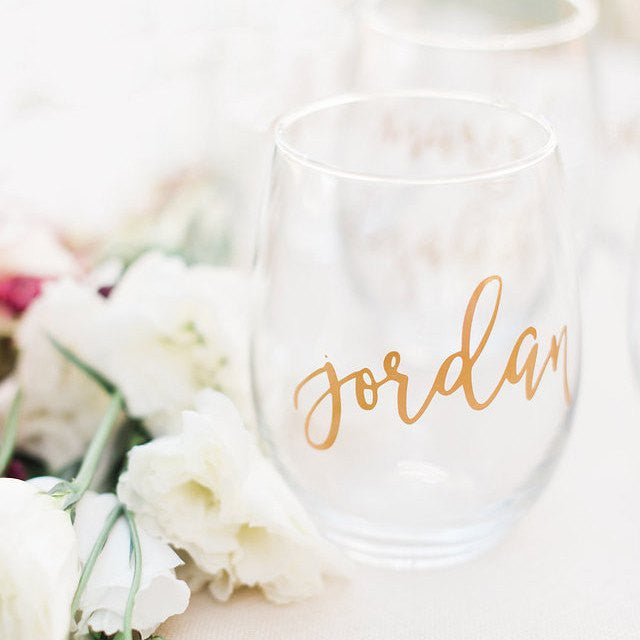 Wine Glass - Personalized Stemless Glass, bridesmaid gifts, bridesmaid glasses