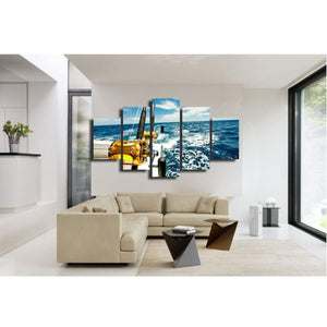 5 panel wall art fishing rod - boat ocean wave : cheap canvas prints wall paintings pictures