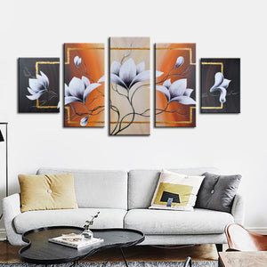 White flower blossom oil painting hand-painted on canvas - ASH Wall Decor - Wall Art Canvas Panel Print Painting