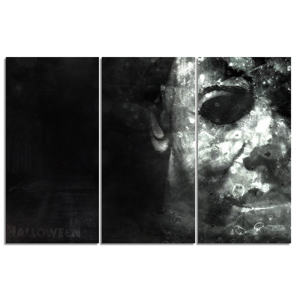Michael Myers Halloween Movie Black White 3 Panel Wall Art Picture Print On Canv