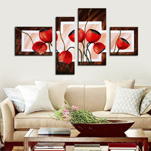 Abstract Red Poppies Flowers panel wall art painting on canvas - ASH Wall Decor - Wall Art Canvas Panel Print Painting