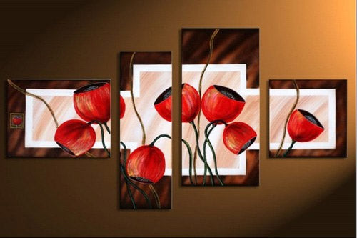 Abstract Red Poppies Flowers panel wall art painting on canvas - ASH Wall Decor - Wall Art Picture Painting Canvas Living Room