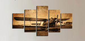 Biplane Vintage Airplane Canvas Wall Art Canvas Panel Print 5 Pcs Pieces Panels : cheap canvas prints wall paintings pictures