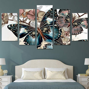 5 piece panel canvas art flower butterfly butterflies canvas print : cheap canvas prints wall paintings pictures