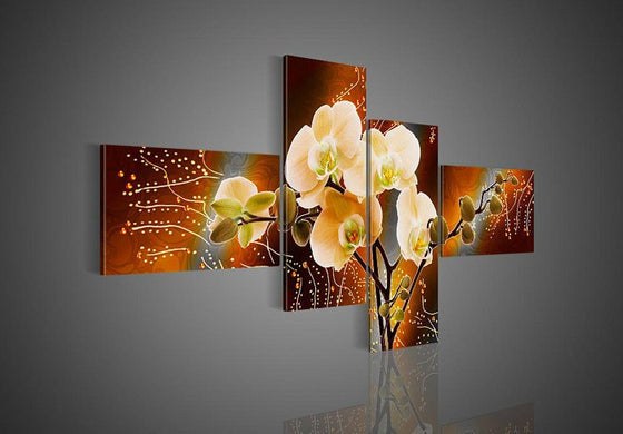 Butterfly Orchid Flowers panel wall art painting on canvas - ASH Wall Decor - Wall Art Picture Painting Canvas Living Room