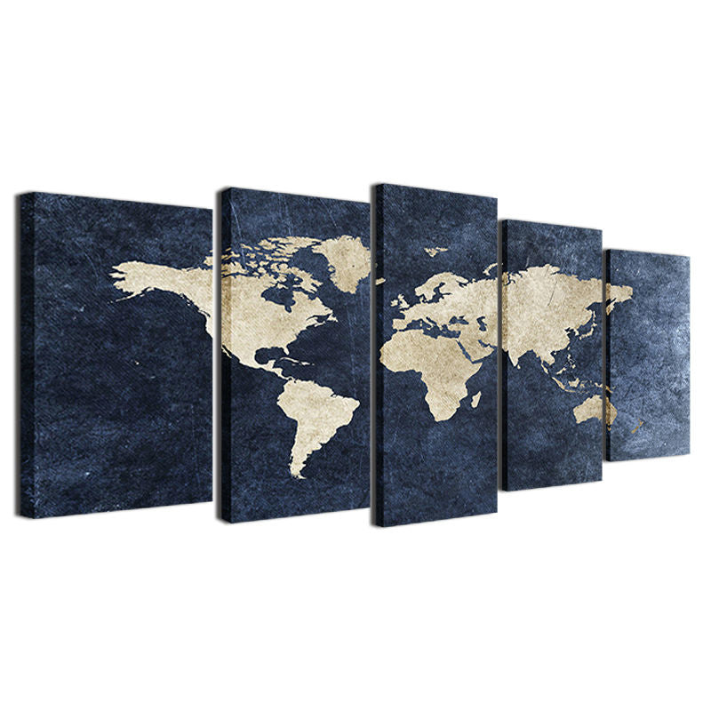 blue world map panel canvas wall art print 5 panel framed unframed ash wall decor. Black Bedroom Furniture Sets. Home Design Ideas