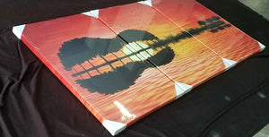 IN STOCK - 3 piece canvas guitar island reflection print  - wall art canvas