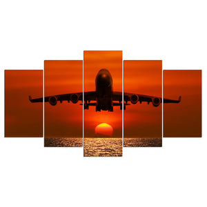 Jet Airplane at Sunset  Wall Art Canvas Poster Panel Picture For Living Room : cheap canvas prints wall paintings pictures