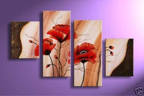 HUGE 4 Panel Wall art red poppy flowers abstract HANDPAINTED oil painting custom size - ASH Wall Decor - Wall Art Picture Painting Canvas Living Room