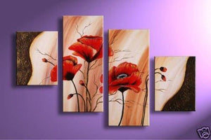 HUGE 4 Panel Wall art red poppy flowers abstract HANDPAINTED oil painting custom size - ASH Wall Decor - Wall Art Canvas Panel Print Painting