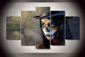 Day of the Dead Face Makeup Hat 5 piece group wall art canvas print - ASH Wall Decor - Wall Art Canvas Panel Print Painting