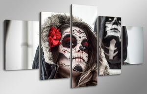 Day of the Dead Face - Male Female - Canvas Print room decor - ASH Wall Decor - Wall Art Canvas Panel Print Painting