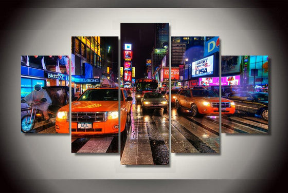 New York City Times Square Panel Wall Art Canvas - ASH Wall Decor - Wall Art Picture Painting Canvas Living Room