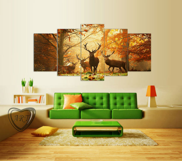 Deer Forest Picture Print On Canvas,The Picture For Home Decor 5 piece - ASH Wall Decor - Wall Art Picture Painting Canvas Living Room