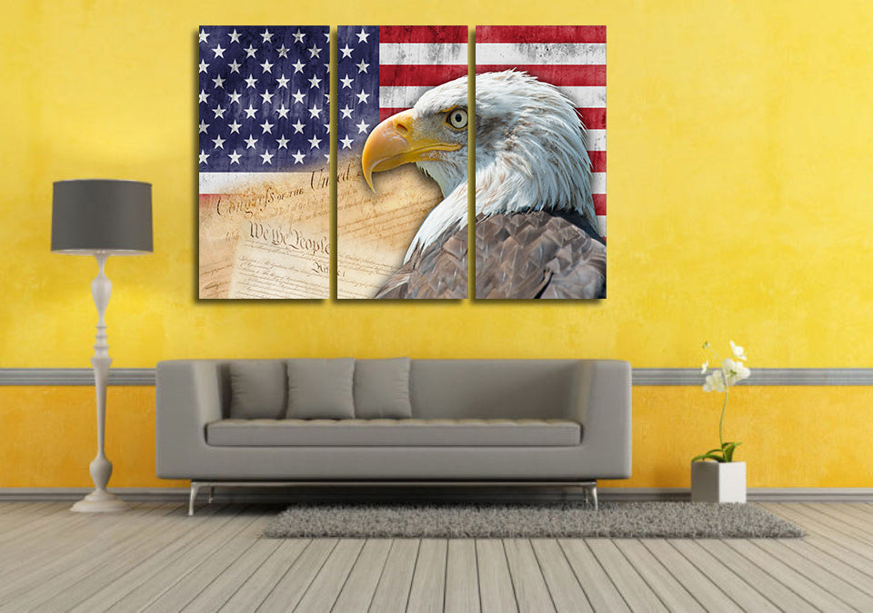 American Bald Eagle and Flag 3 piece wall art printed on canvas ...