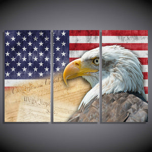 American Bald Eagle and Flag 3 piece wall art printed on canvas - Constitution - ASH Wall Decor - Wall Art Canvas Panel Print Painting