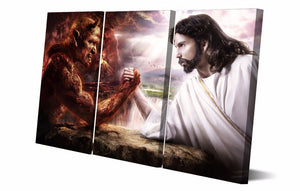 3 piece panel  Jesus Christ arm wrestling with devil wall art canvas panel print : cheap canvas prints wall paintings pictures