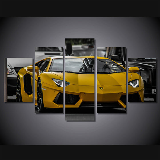 5 piece canvas art yellow Lamborghini sport Car picture - ASH Wall Decor - Wall Art Picture Painting Canvas Living Room