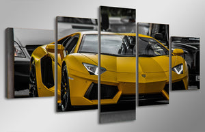 5 piece canvas art yellow Lamborghini sport Car picture : cheap canvas prints wall paintings pictures