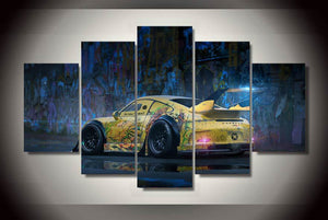 Graffiti yellow abstract race sports car panel wall art on canvas room decor : cheap canvas prints wall paintings pictures