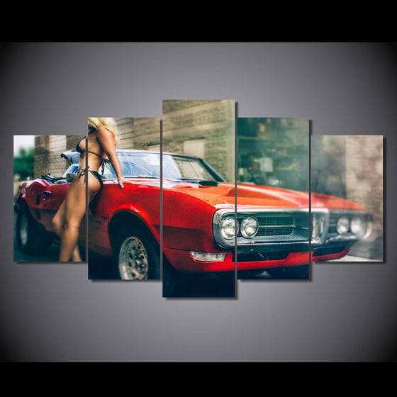 1967 red Pontiac Firebird convertible bikini model canvas art - ASH Wall Decor - Wall Art Canvas Panel Print Painting
