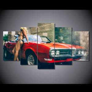 1967 red Pontiac Firebird convertible bikini model canvas panel wall art : cheap canvas prints wall paintings pictures