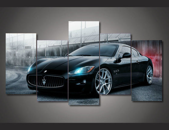 Black Maserati 5 piece Group  Canvas Print room decor - ASH Wall Decor - Wall Art Picture Painting Canvas Living Room