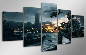 Battlefield scene helicopter soldier military canvas wall art print 5 panel - ASH Wall Decor - Wall Art Canvas Panel Print Painting