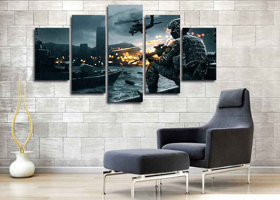 Battlefield scene helicopter soldier military canvas wall art print ...