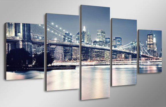 Brooklyn Bridge New York at night 5 piece wall art - ASH Wall Decor - Wall Art Picture Painting Canvas Living Room