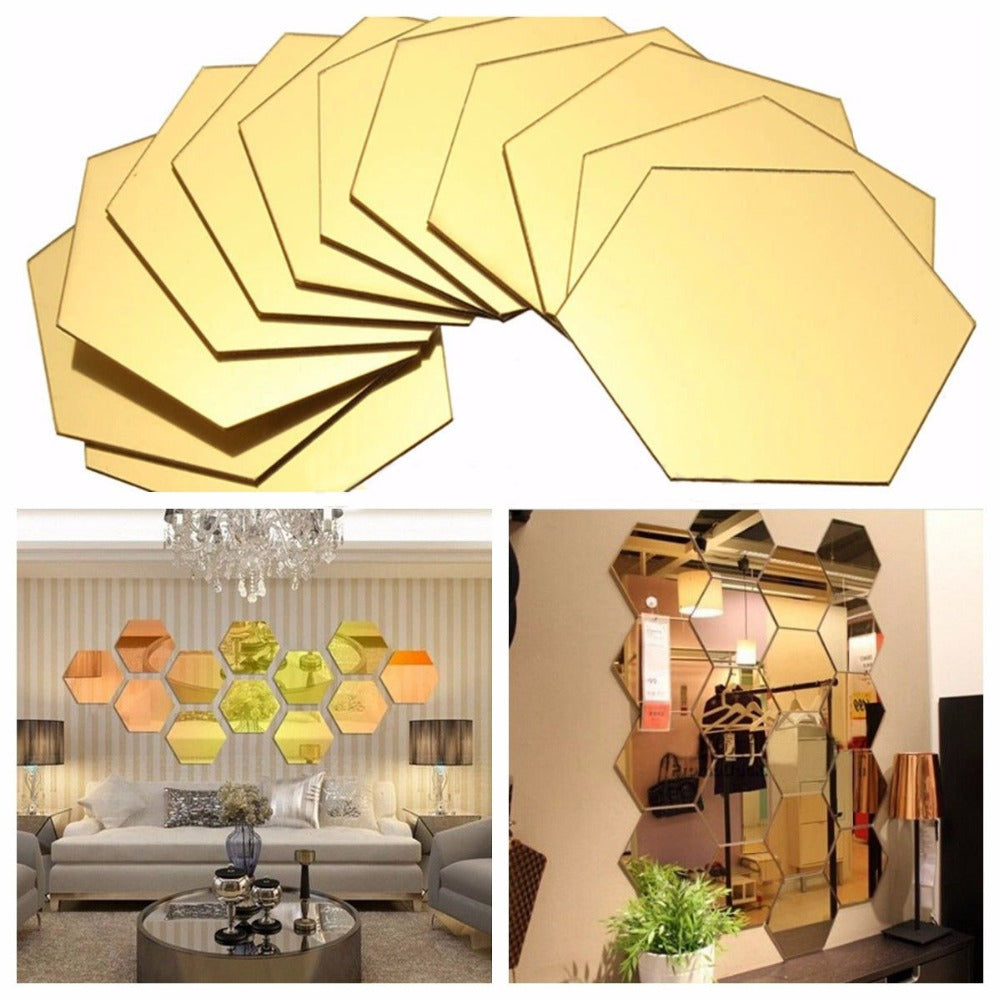7 PIECES Hexagon Acrylic Mirror Wall Stickers DIY Art Wall Decor ...