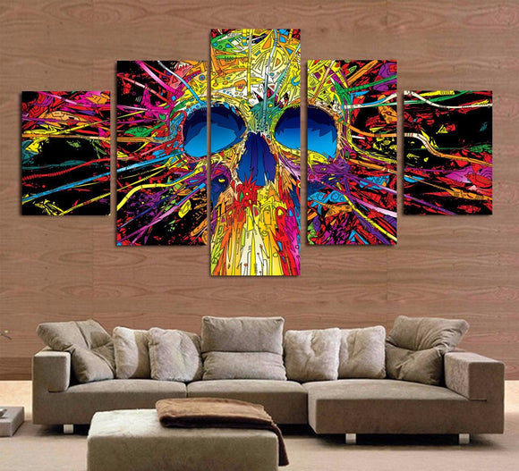 5 piece canvas art - Abstract Multi-Colored Skull - ASH Wall Decor - Wall Art Picture Painting Canvas Living Room