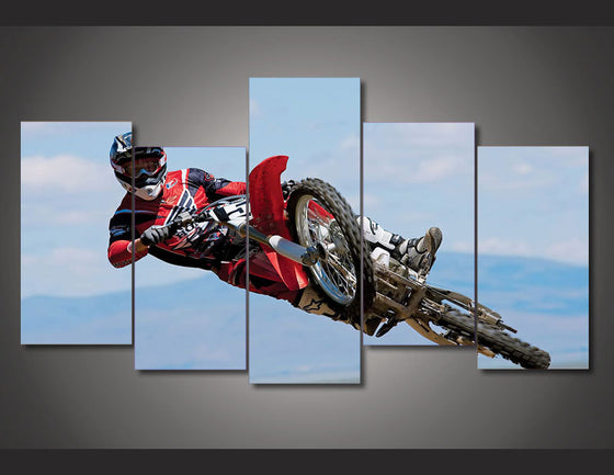 Dirt Bike Motorcycle Racing  5 piece wall art - ASH Wall Decor - Wall Art Picture Painting Canvas Living Room