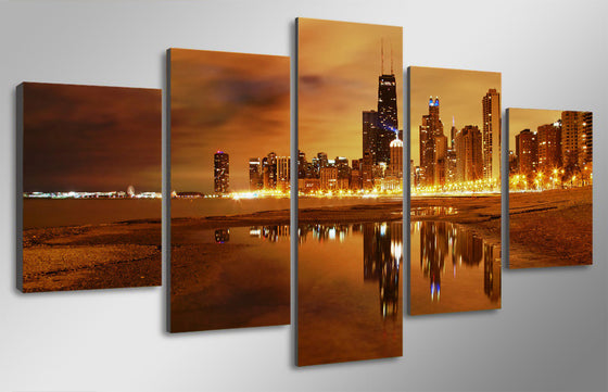 5 piece cityscape sunset Chicago evening wall art on canvas - ASH Wall Decor - Wall Art Picture Painting Canvas Living Room