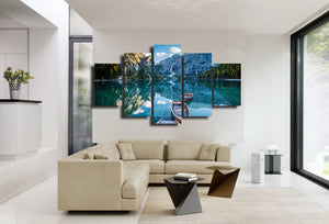 Ozero Paluba Lodki Gory  row boats and mountains blue sky 5 piece Canvas : cheap canvas prints wall paintings pictures