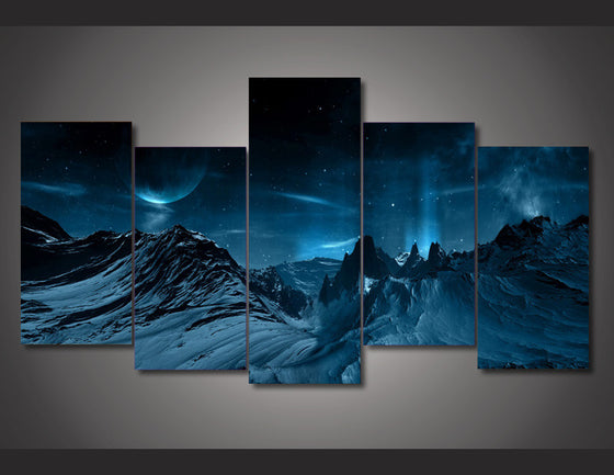Blue Night Mountainscape  Mountains Wall Art on Canvas Print - ASH Wall Decor - Wall Art Picture Painting Canvas Living Room