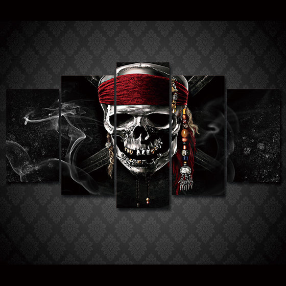 Skull bandanna smoke 5 panel wall art on canvas skulls - ASH Wall Decor - Wall Art Picture Painting Canvas Living Room